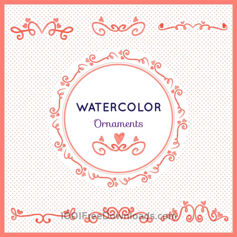 Free Vectors: Watercolor set of ornamnets | Valentine