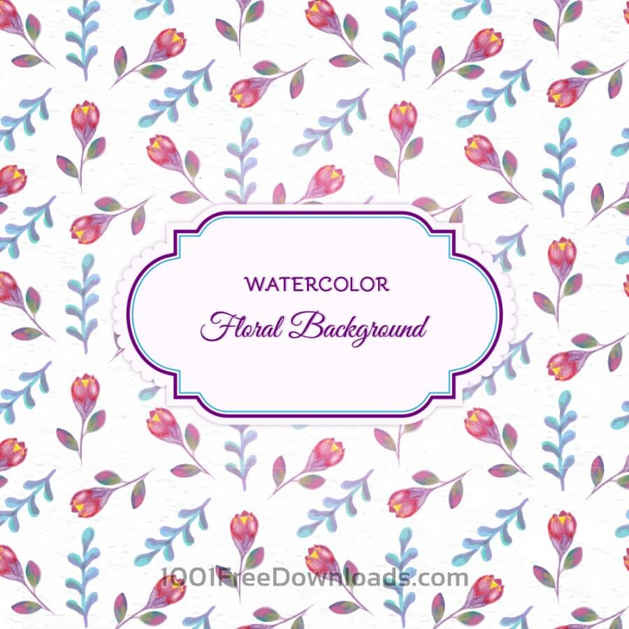 Free Vectors: Watercolor floral background with frame | Patterns
