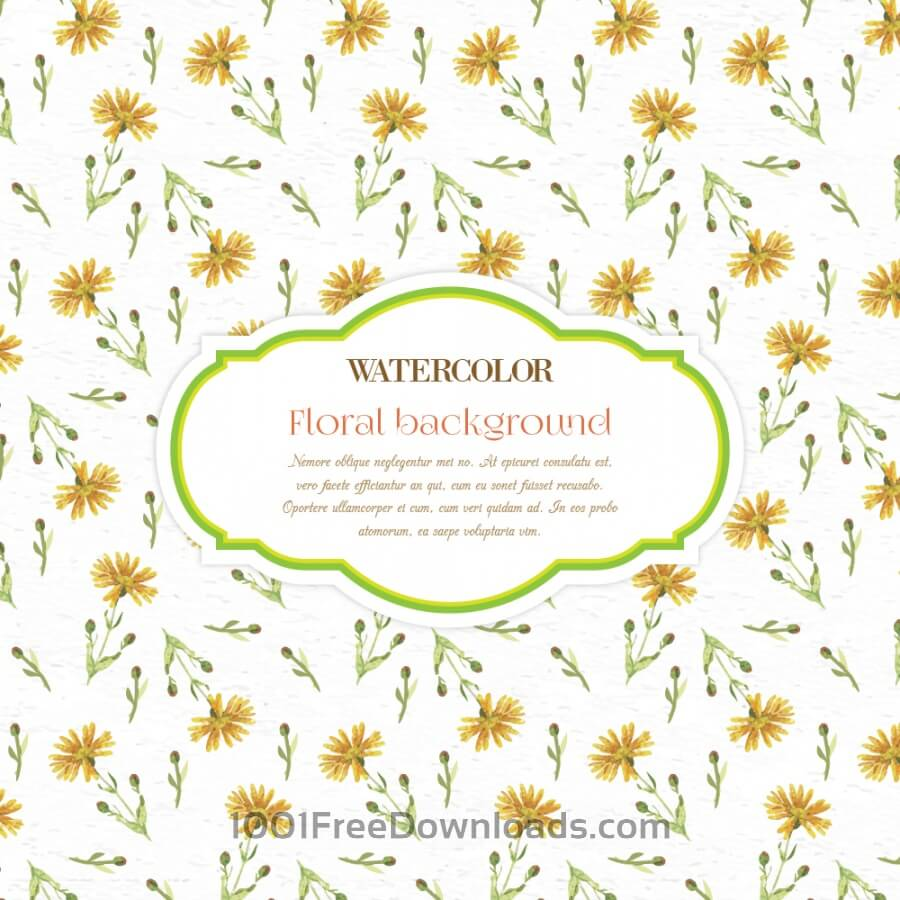 Free Vectors Watercolor Floral Background With Frame Patterns