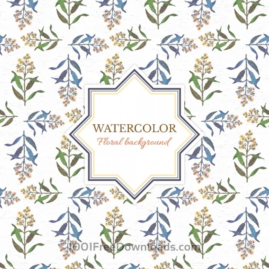 Free Watercolor floral background with frame