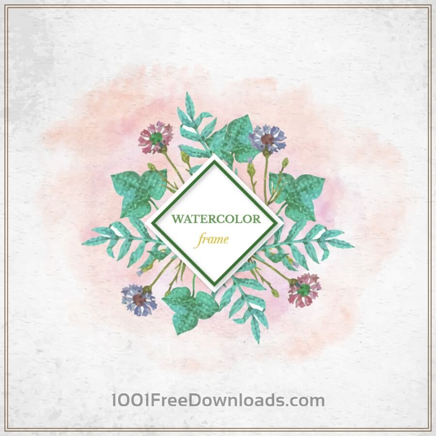 Free Vectors: Vintage watercolor floral frame with typography | Flowers