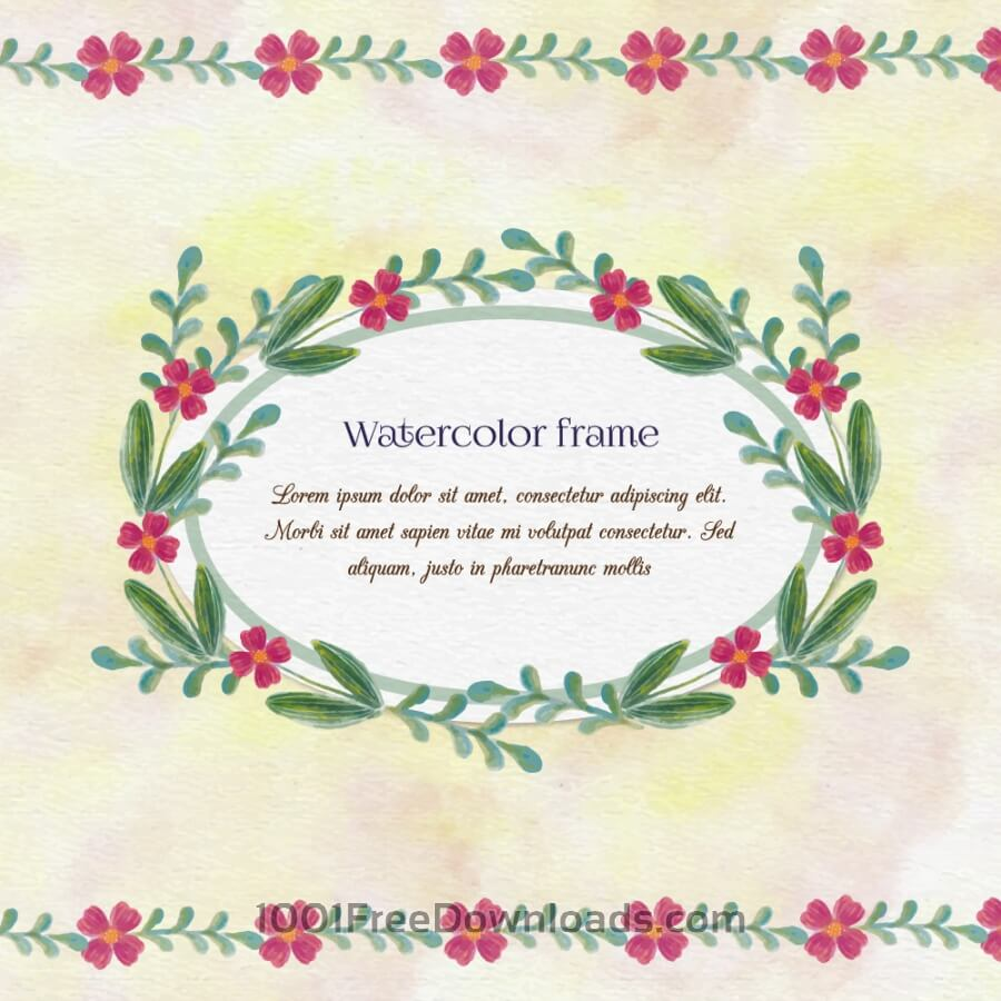 Free Vintage watercolor floral frame with typography