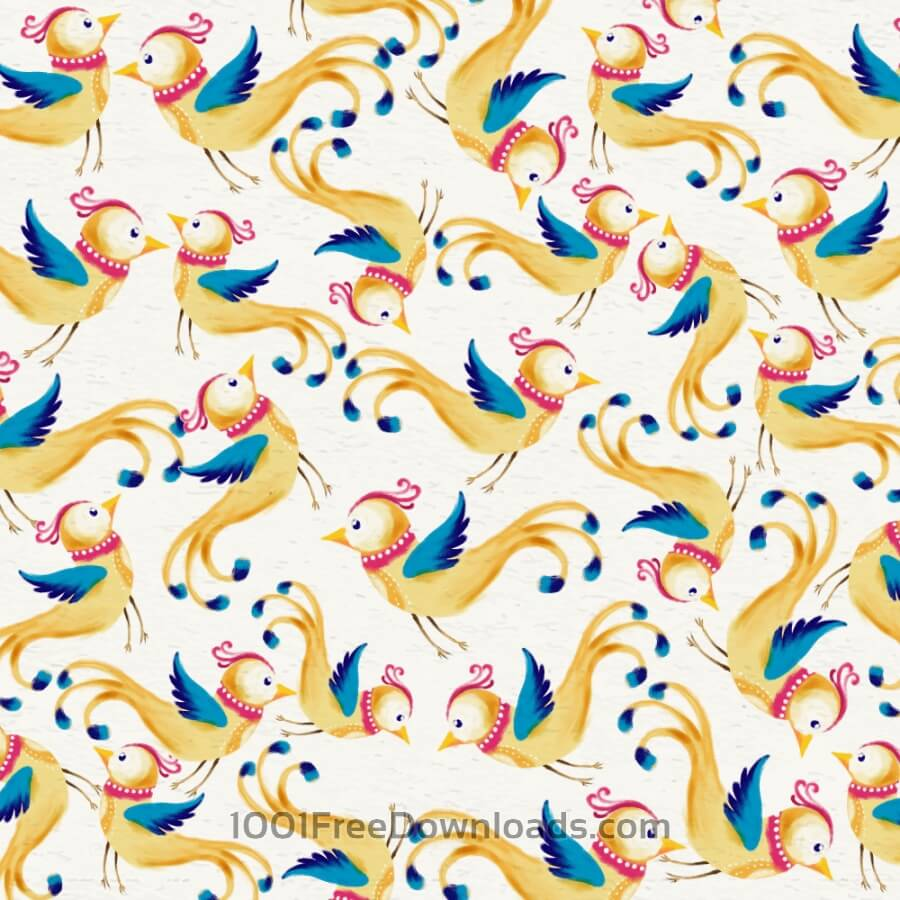 Free Watercolor background with cute birds