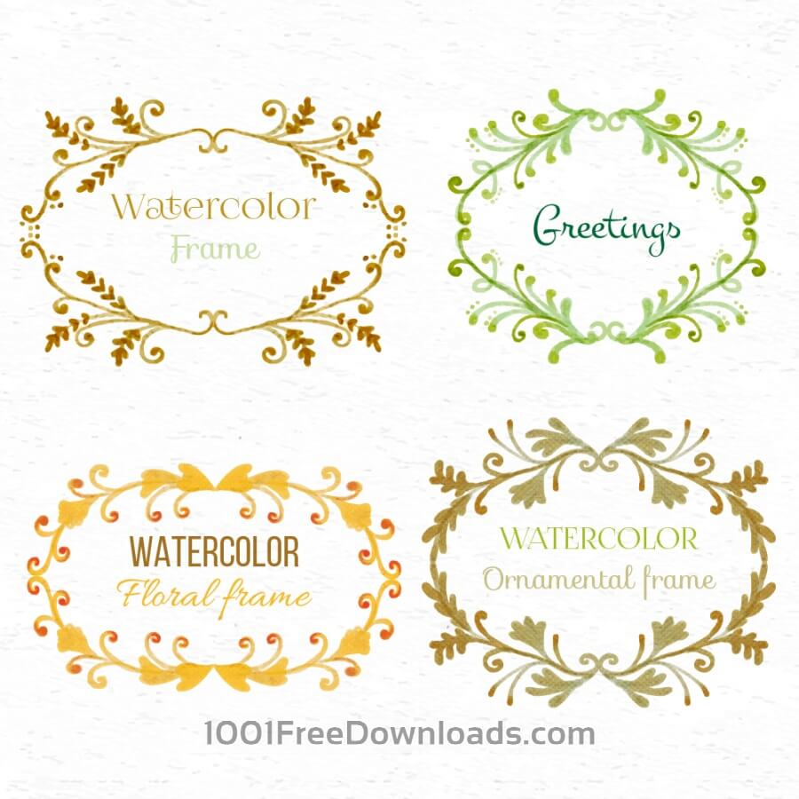 Free Vectors: Watercolor set of frames | Valentine