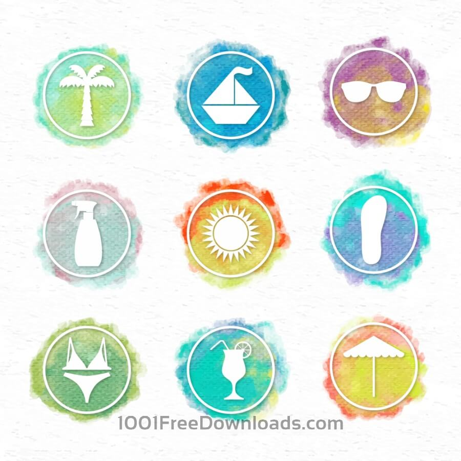 Free Vectors: Watercolor icons | Icons