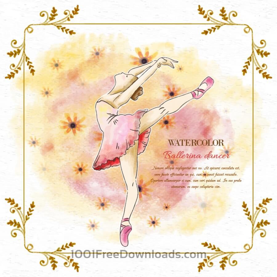 Free Vectors: Watercolor ballerina dancer | Backgrounds