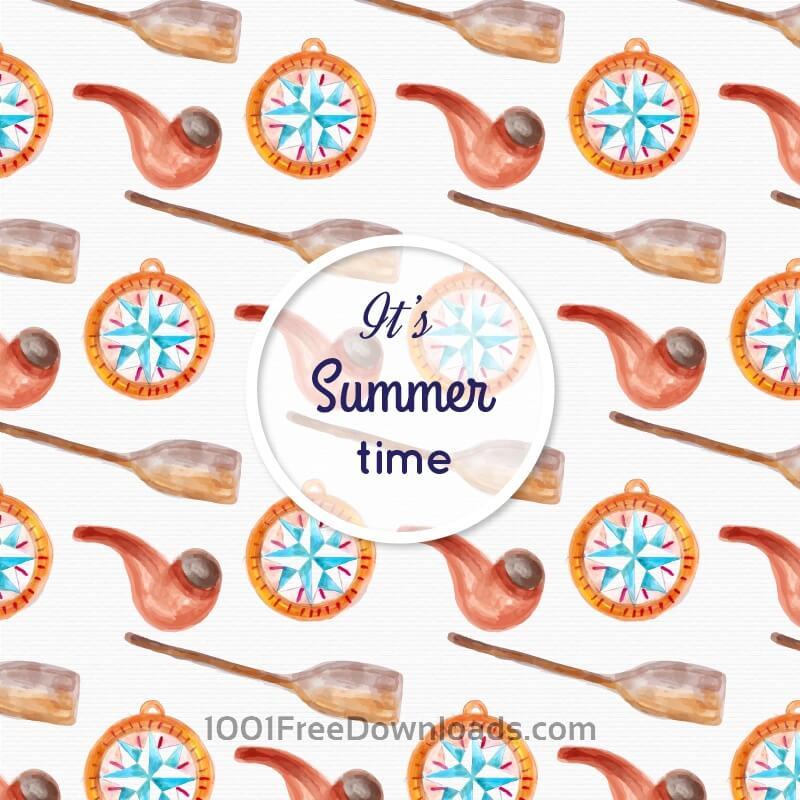 Free Watercolor summer pattern