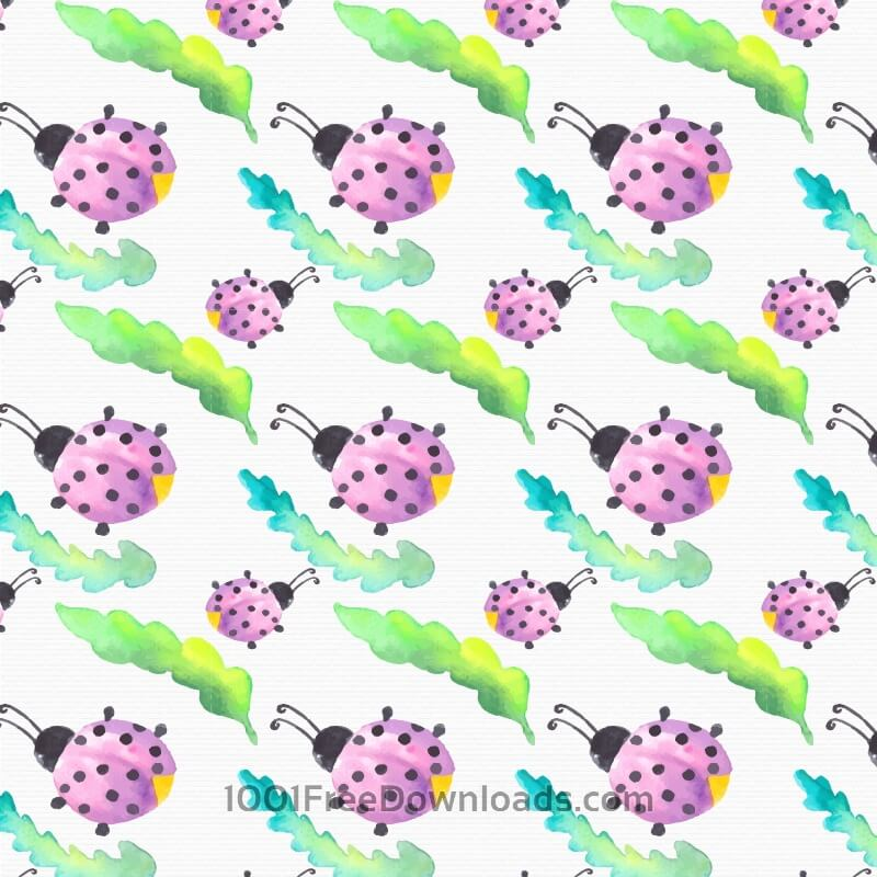 Free Vectors: Watercolor pattern with lady bug | Backgrounds