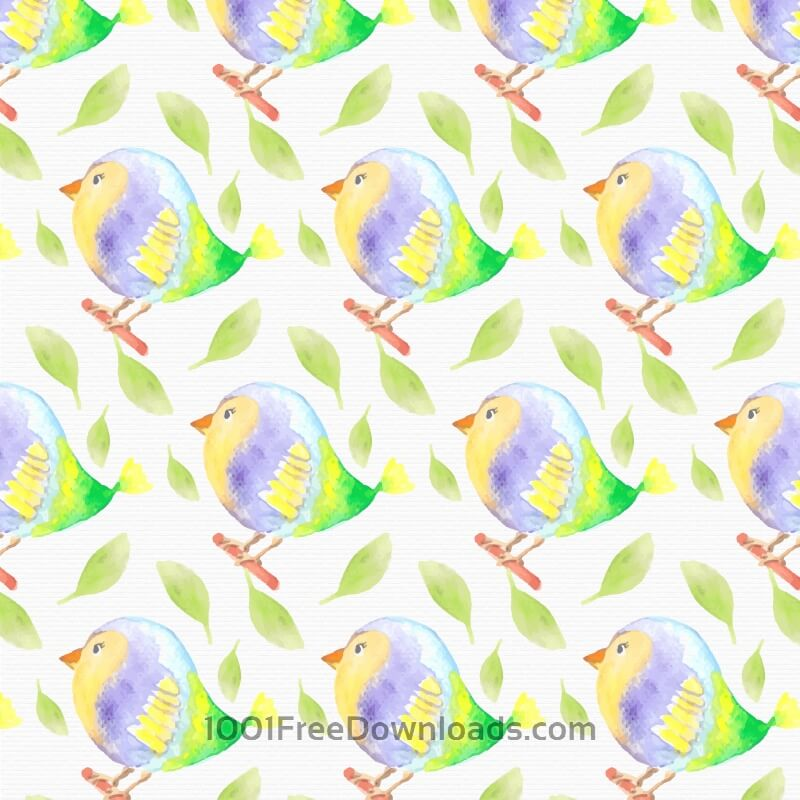 Free Watercolor bird pattern