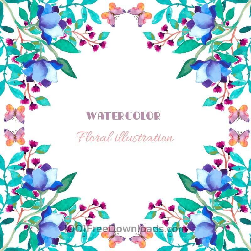 Free Vectors: Watercolor floral illustration | Backgrounds