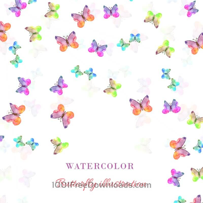 Free Watercolor illustration with butterflies