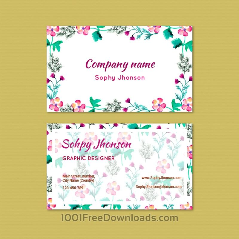 Free Watercolor business card with flowers