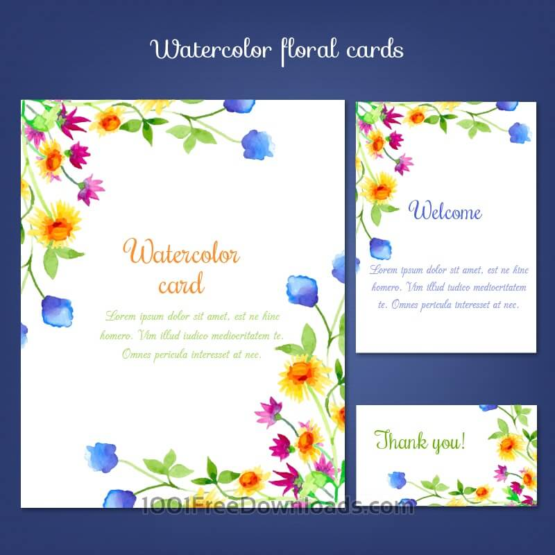 Free Watercolor cards with summer flower