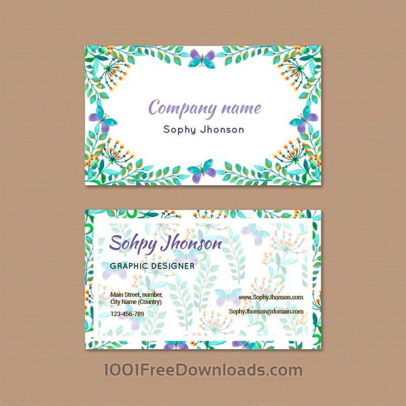Free Vectors: Watercolor business card with flower | Flowers