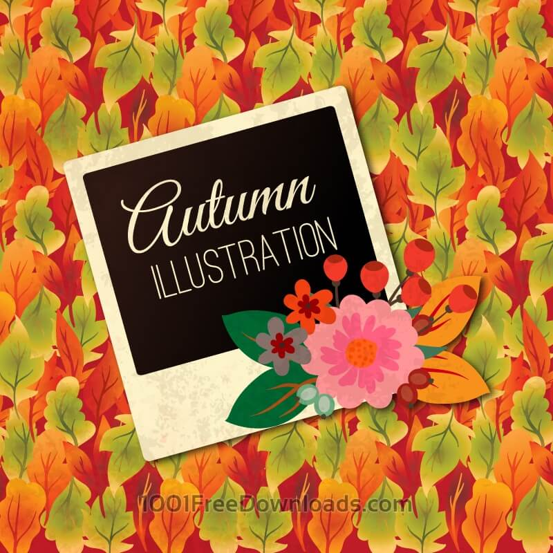 Free Vectors: Autumn Illustration With Photo Frame | Art