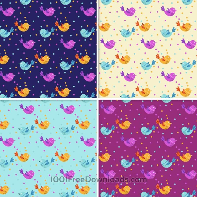 Free Vectors: Pattern With Doodle Birds | Patterns
