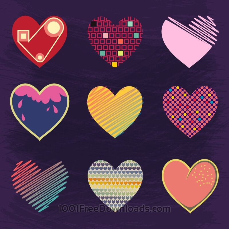Free Vectors: Set of Cute Hearts | Backgrounds