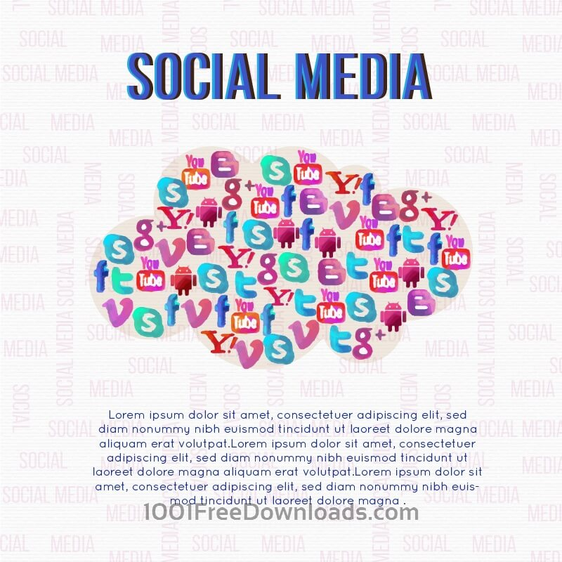 Free Social Media Cloud Illustration