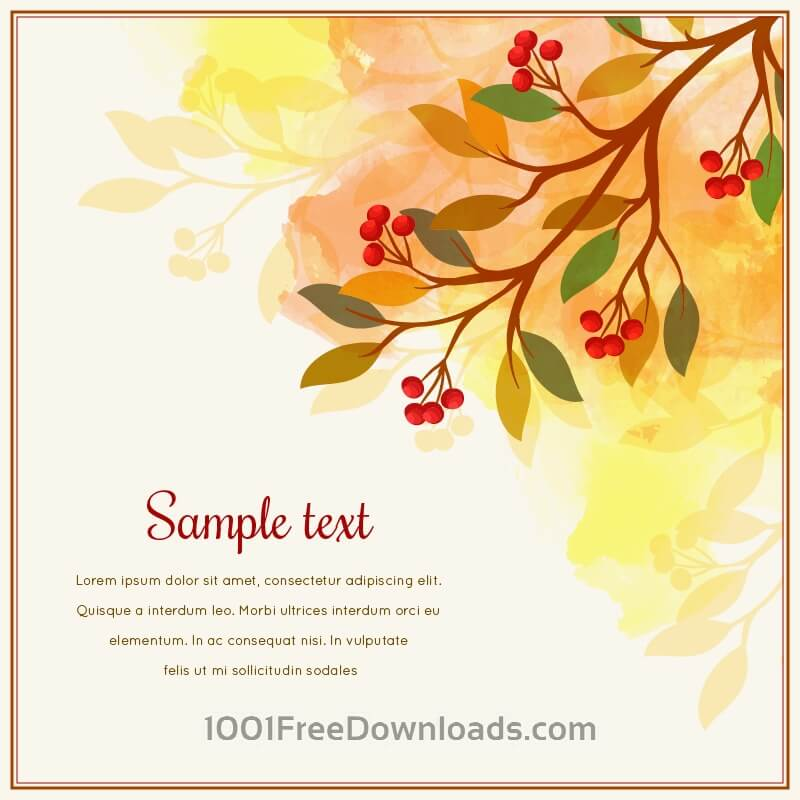 Free Autumn card with tree branch