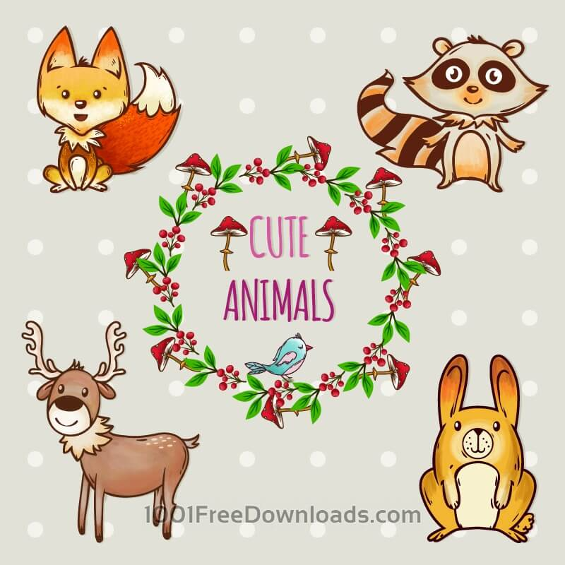 Free Vectors: Cute set of animals with frame | Objects