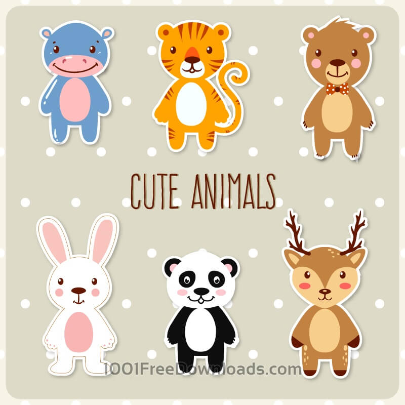 Free Vectors: Cute set of animals | Objects