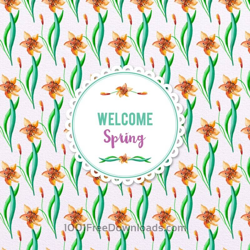 Free Spring Watercolor Floral Pattern