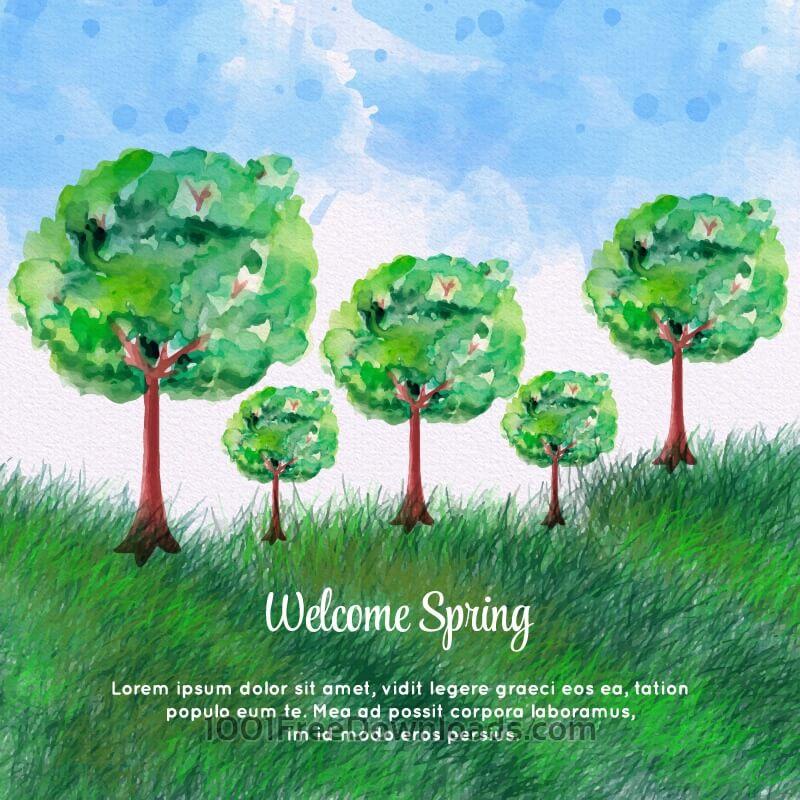 Free Vectors: Watercolor Spring Landscape | Backgrounds