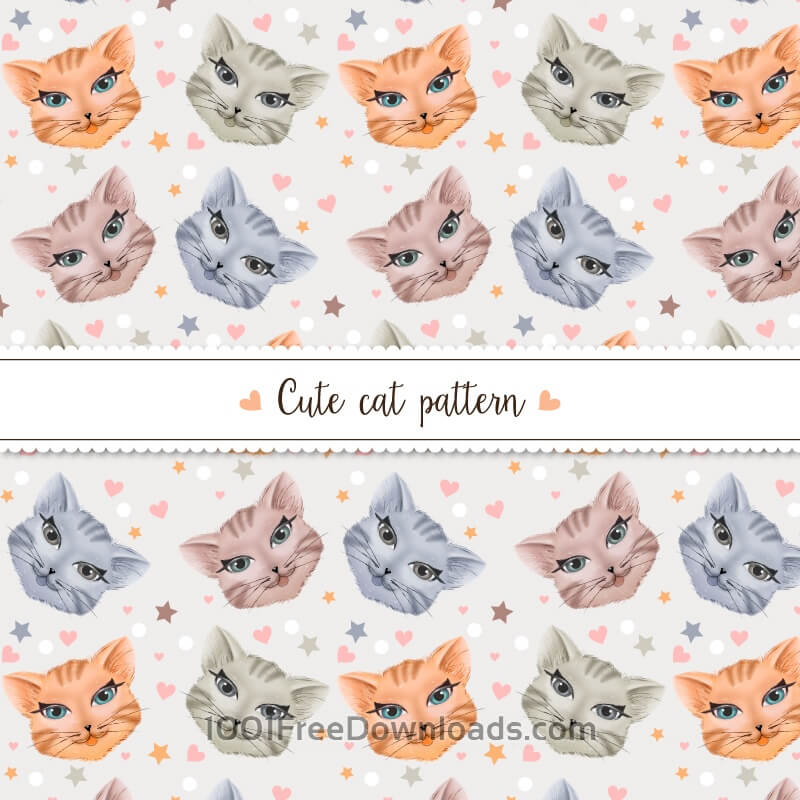 Free Cute cat pattern