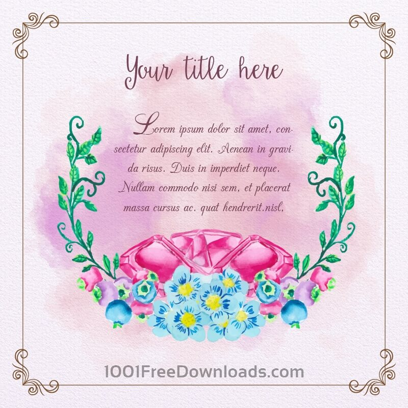Free Vectors: Cute watercolor frame with diamonds and flowers | Flowers
