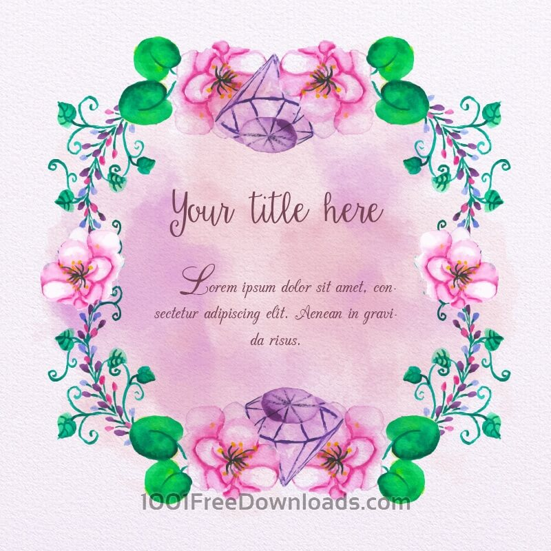Free Watercolor frame with diamonds