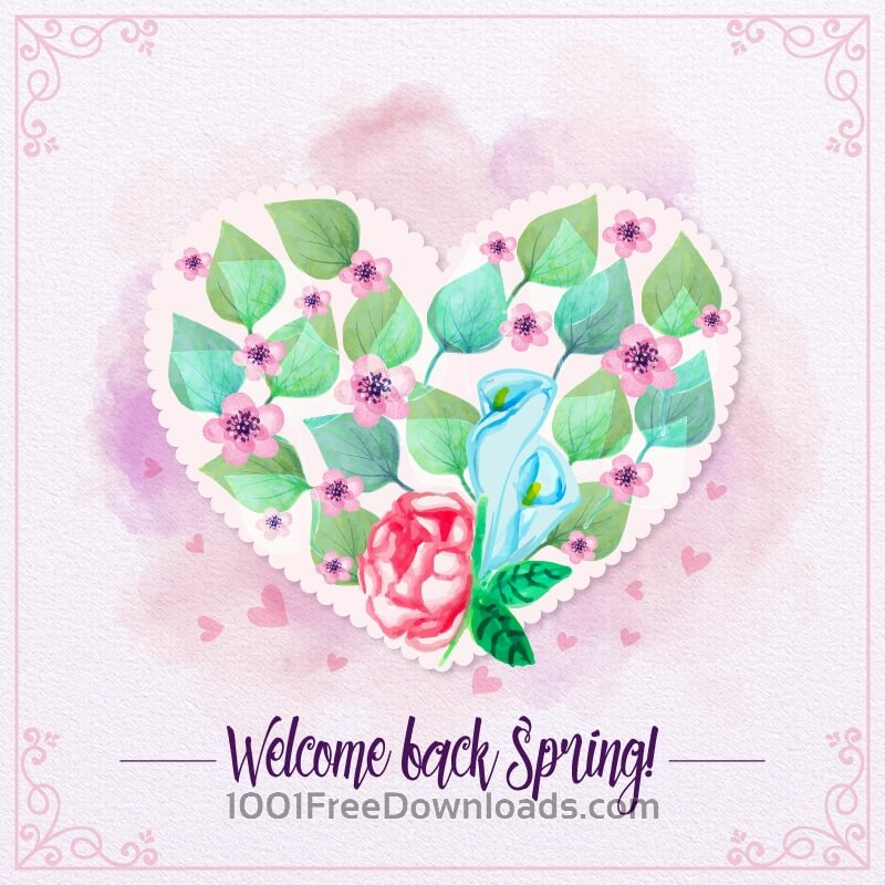 Free Vectors: Watercolor love floral card | Backgrounds