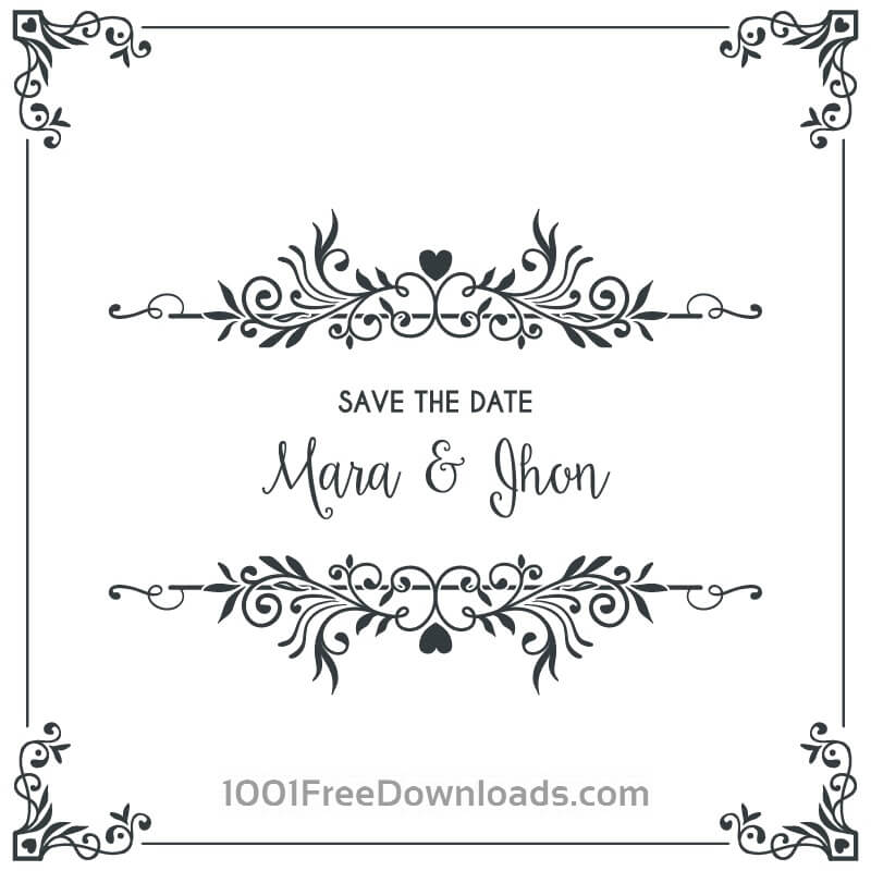Free Vectors: Wedding card invitation with frame | Backgrounds