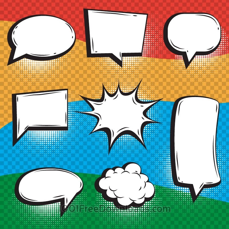 Free Bright Comic Book Elements With Speech Bubbles
