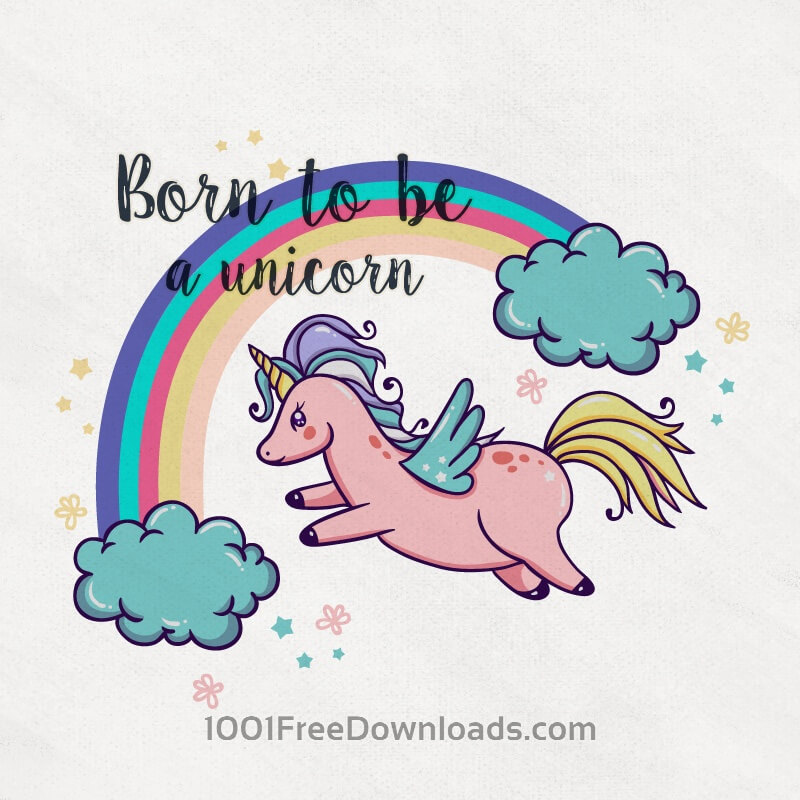 Free Cute Magical Unicorn With Rainbow