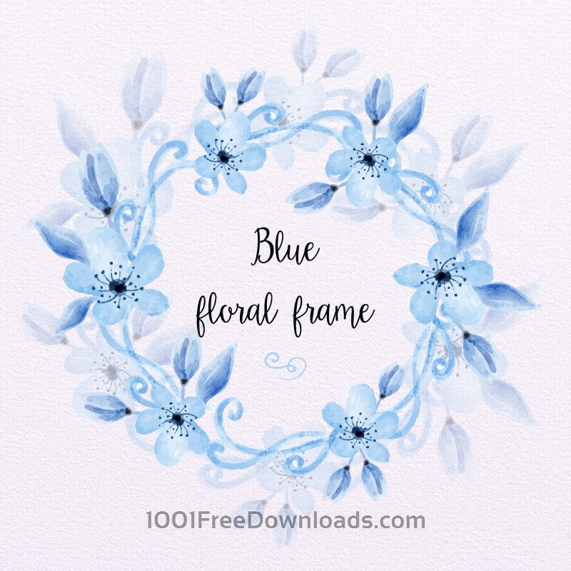 Free Blue Watercolor Floral Frame