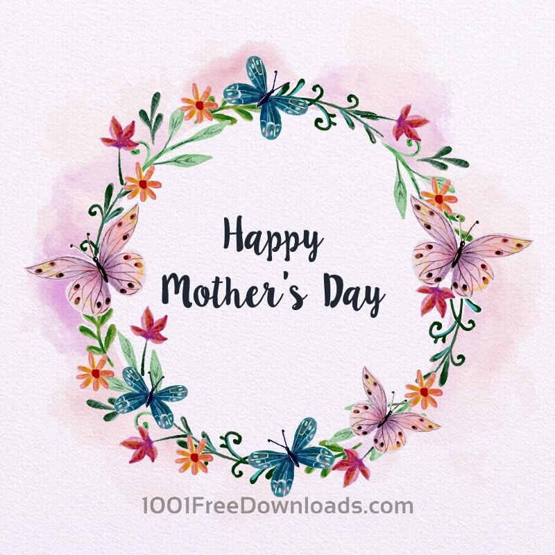 Free Watercolor Mother's Day Card