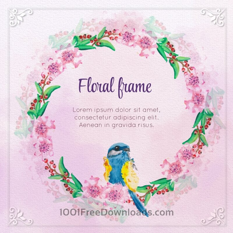 Free Watercolor Floral Frame