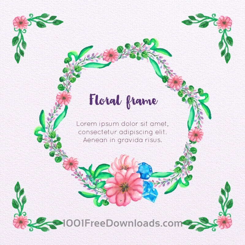Free Vectors: Watercolor Floral Frame | Backgrounds