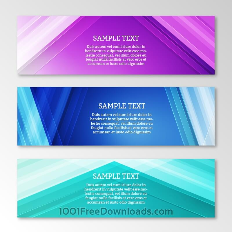 Abstract web banners set with motion modern lines