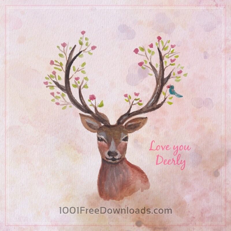 Free Vectors: Watercolor reindreer with big antlers, spring flowers on the horns, branches, cherry blossom | Abstract