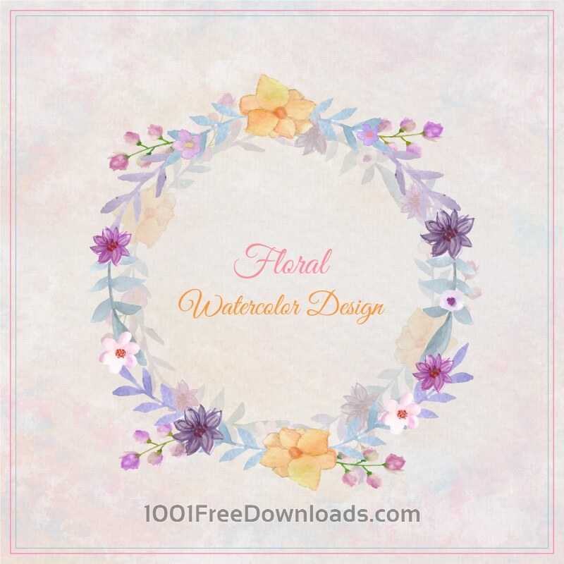 Free Watercolor floral greeting card. Watercolor flowers frame