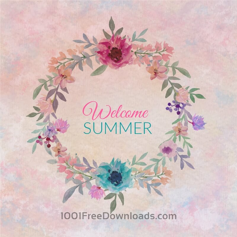 Free Watercolor colorful circular floral wreaths with summer flowers