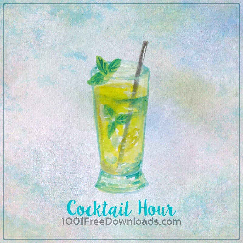 Free Watercolor illustration of summer cocktail mojito