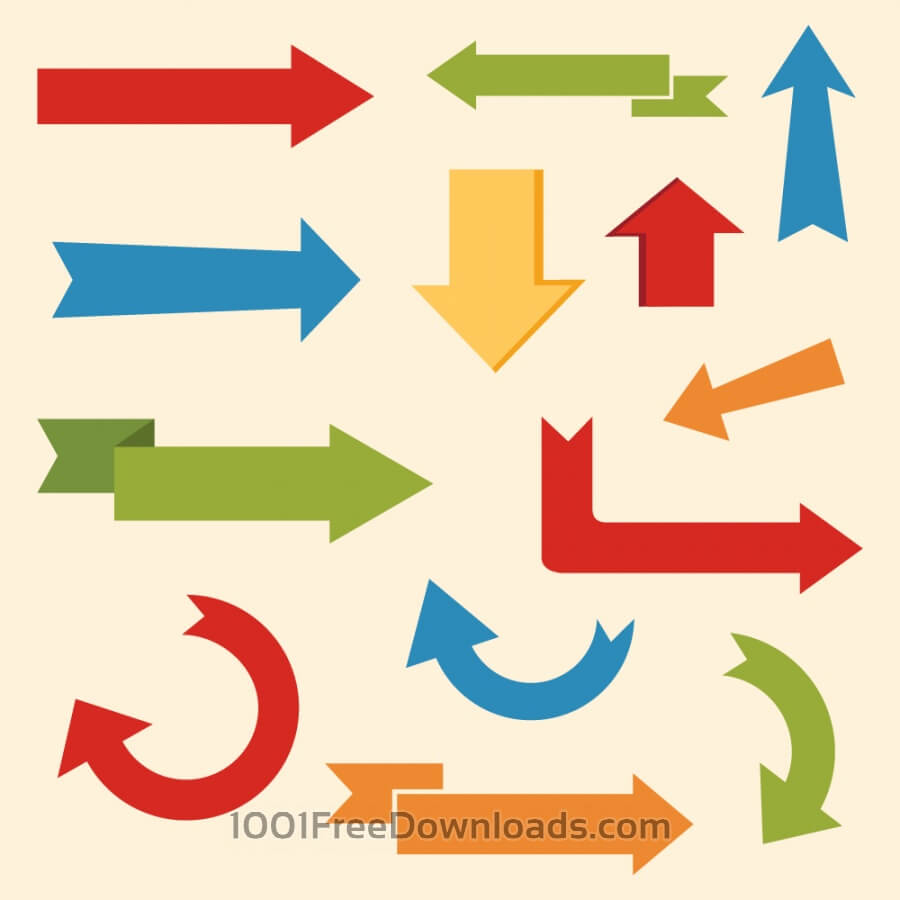 Free Vectors: Set of arrows and directions, signs left, right, up down | Abstract