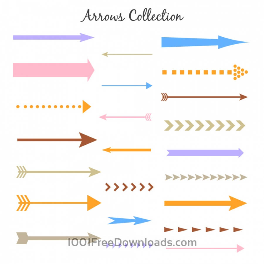 Free Vectors: Set of colorful vector arrows | Abstract