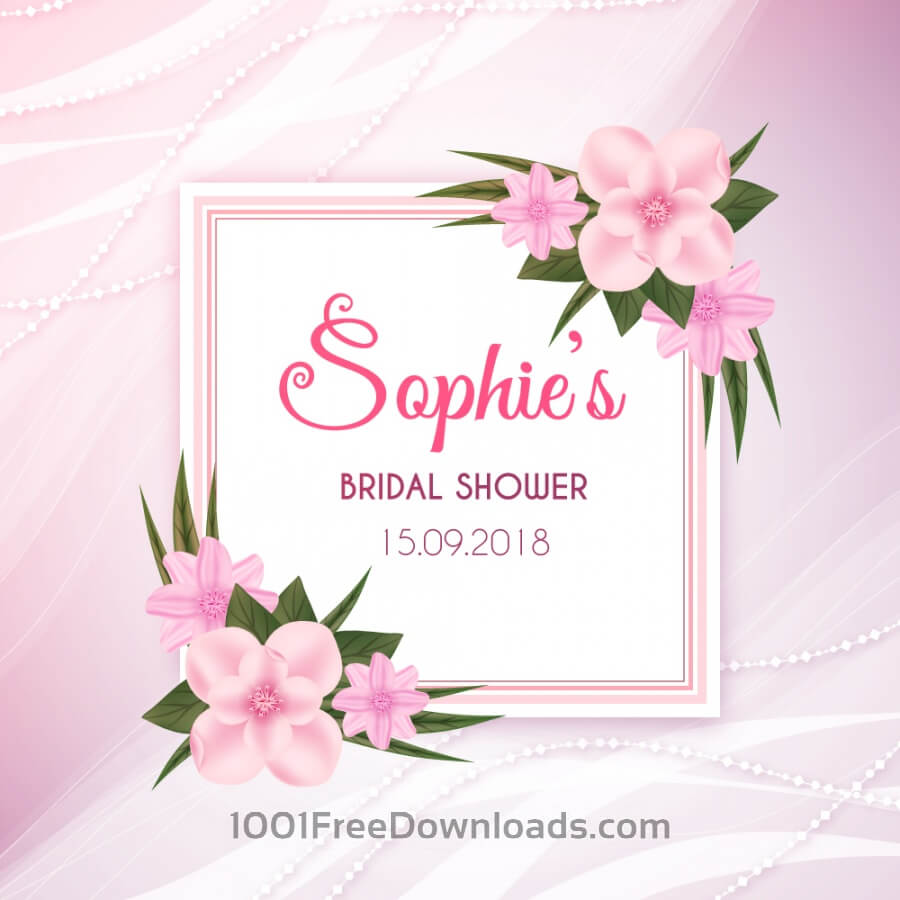 Free Realistic floral card for wedding