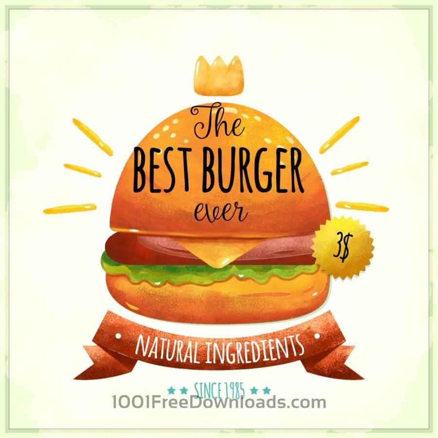 Free Vectors: Watercolor burger card | Backgrounds