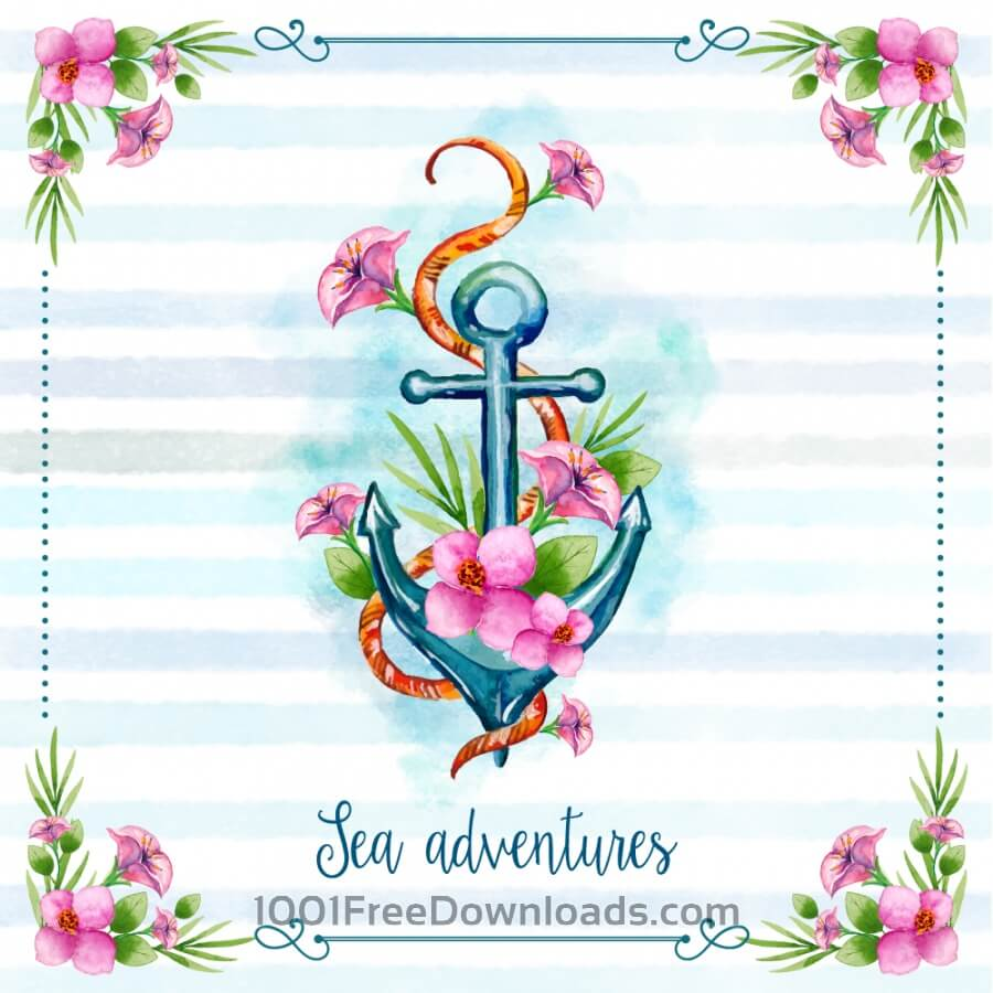 Free Nautical theme floral card