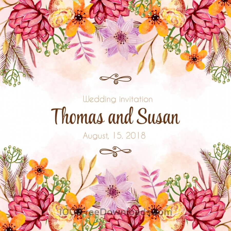 Free Vectors: Watercolor wedding invitation | Backgrounds