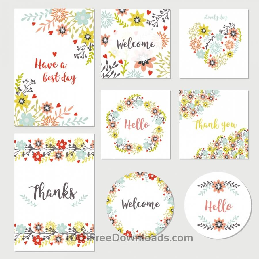 Free Floral collection of cards